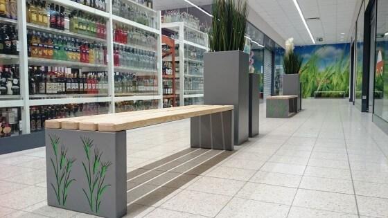 modernizacja centrum handlowego - zieleń zewnętrza i wewnętrzna wraz z małą architekturą